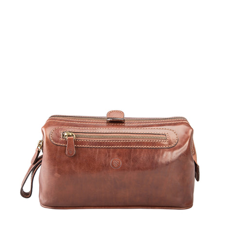 Image 1 of the 'Duno L'  Tan Veg-Tanned Leather Wash Bag