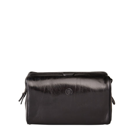 Image 1 of the 'Duno' Black Veg-Tanned Leather Wash Bag