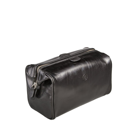 Image 2 of the 'Duno' Black Veg-Tanned Leather Wash Bag