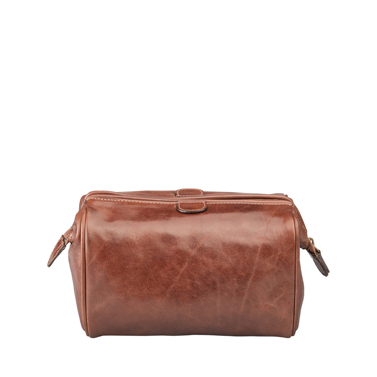 Image 4 of the 'Duno' Chestnut Veg-Tanned Leather Wash Bag