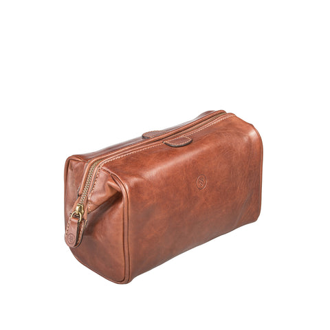 Image 2 of the 'Duno' Chestnut Veg-Tanned Leather Wash Bag
