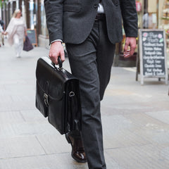 Image 7 of the 'Tomacelli' Handmade Triple Sectioned Black Veg-Tanned Briefcase