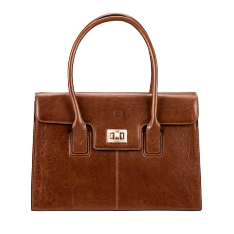 Image 1 of the 'Fabia' Chestnut Veg-Tanned Leather Workbag