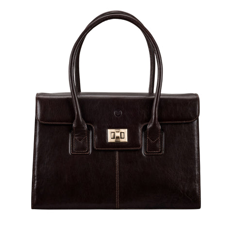 Image 1 of the 'Fabia' Dark Chocolate Veg-Tanned Leather Workbag