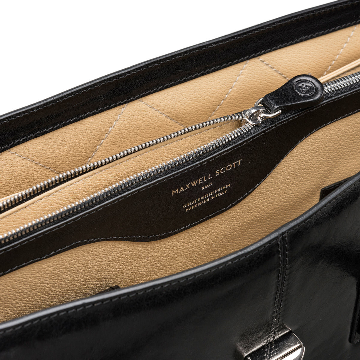 Image 7 of the 'Fabia' Black Veg-Tanned Leather Workbag