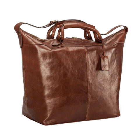 Image 2 of the 'Fabrizio' Chestnut Veg-Tanned Leather Holdall