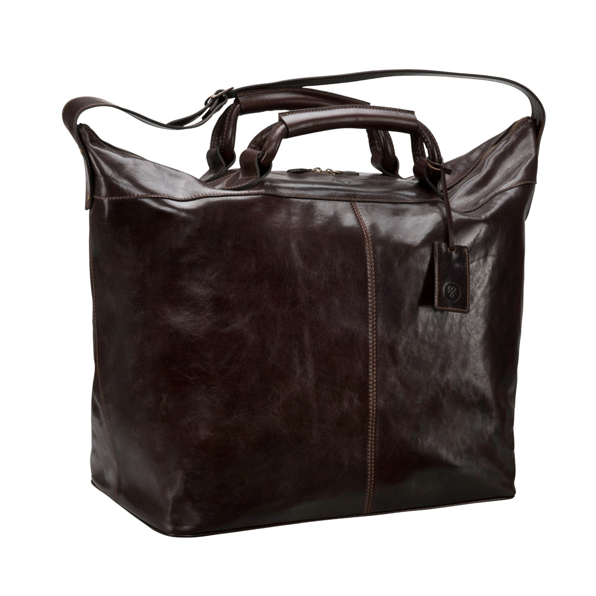 Image 2 of the 'Fabrizio' Chocolate Veg-Tanned Leather Holdall