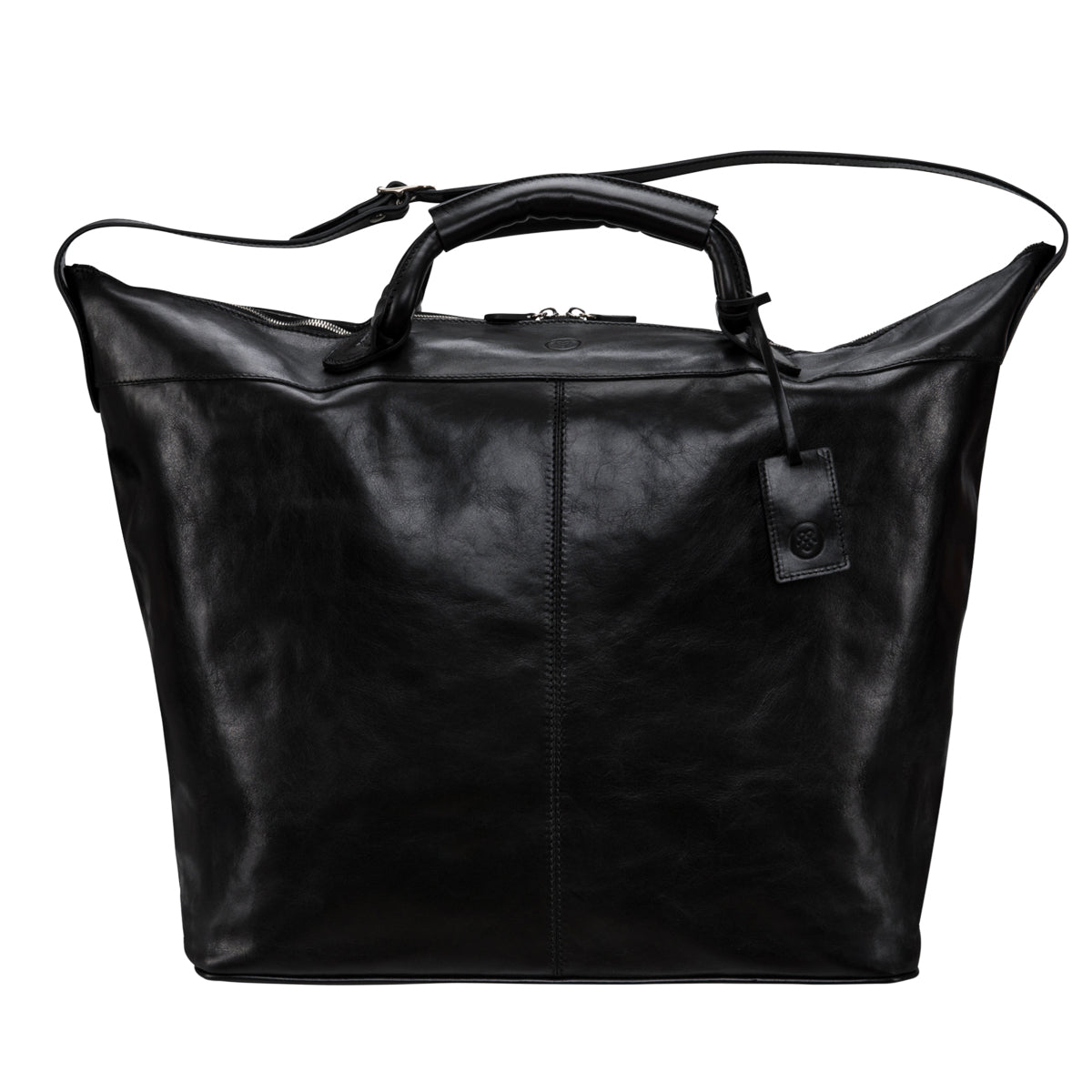 Image 1 of the 'Fabrizio' Black Veg-Tanned Leather Holdall