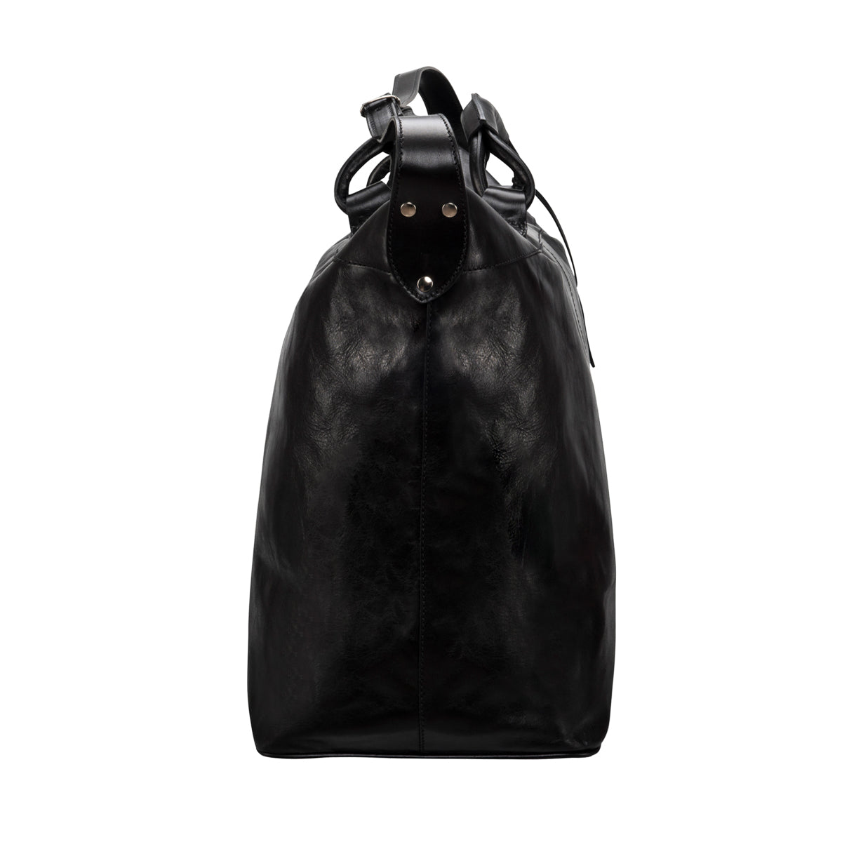 Image 3 of the 'Fabrizio' Black Veg-Tanned Leather Holdall