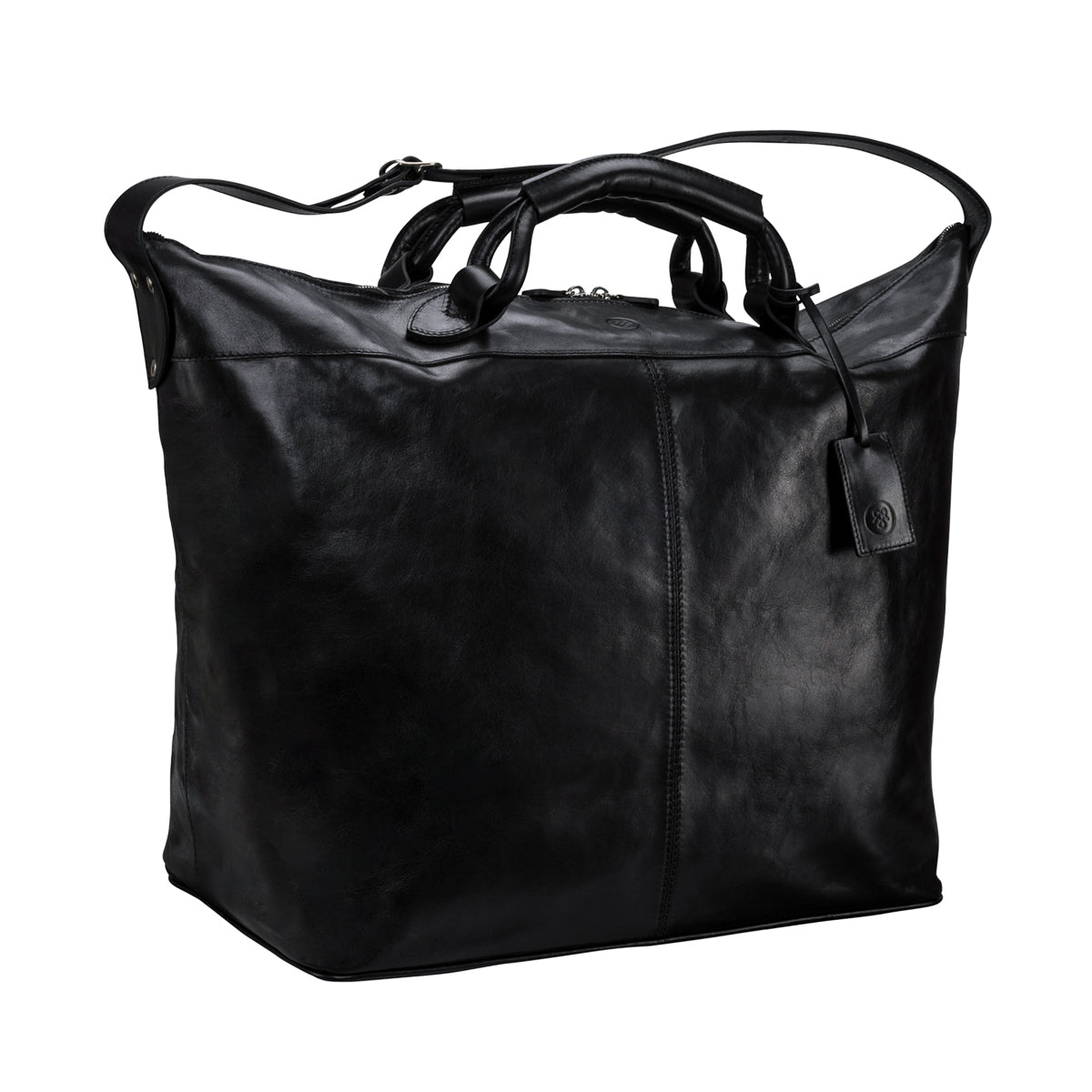 Image 2 of the 'Fabrizio' Black Veg-Tanned Leather Holdall