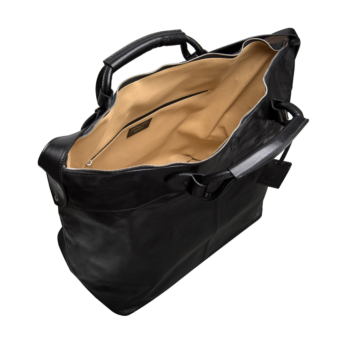 Image 5 of the 'Fabrizio' Black Veg-Tanned Leather Holdall