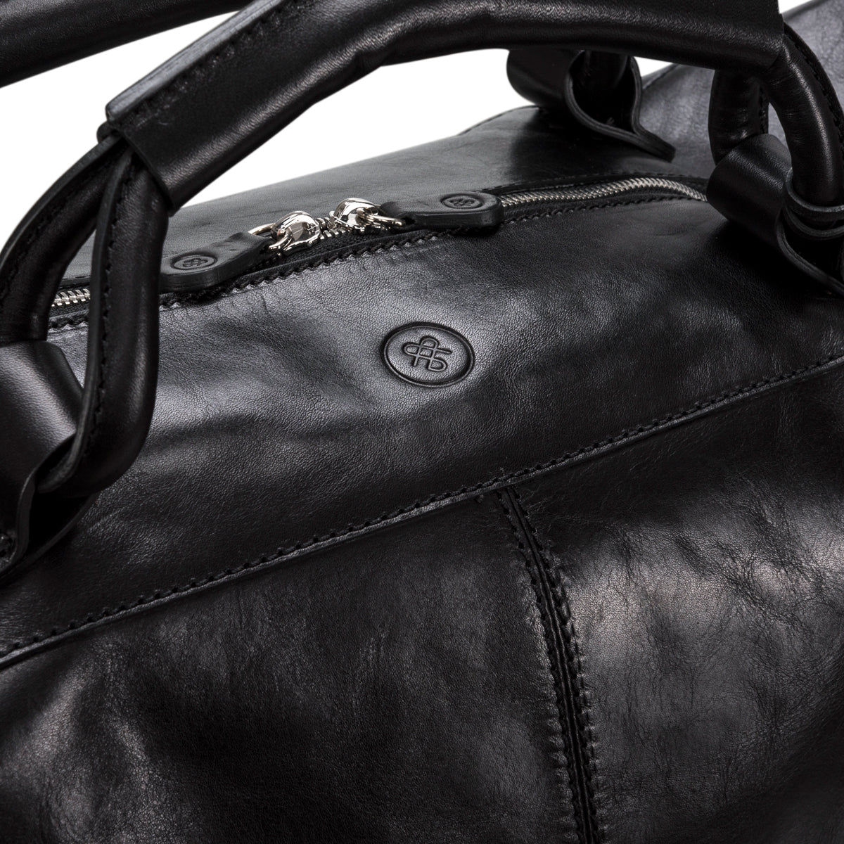 Image 6 of the 'Fabrizio' Black Veg-Tanned Leather Holdall