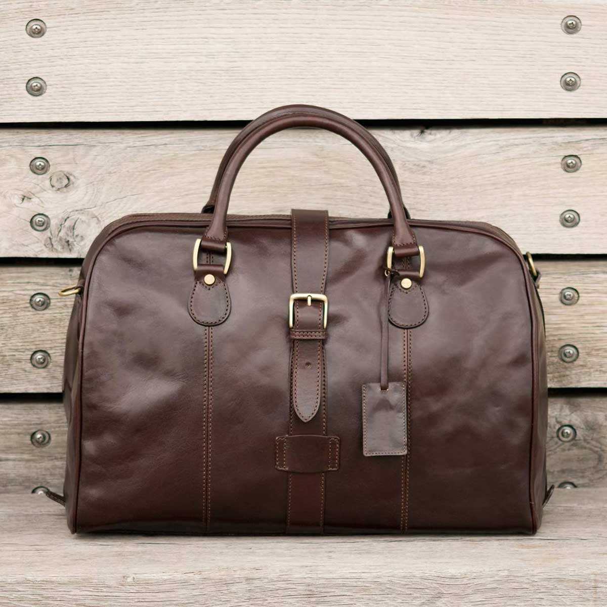 Image 9 of the 'Farini' Black Veg-Tanned Leather Luxury Hand Luggage