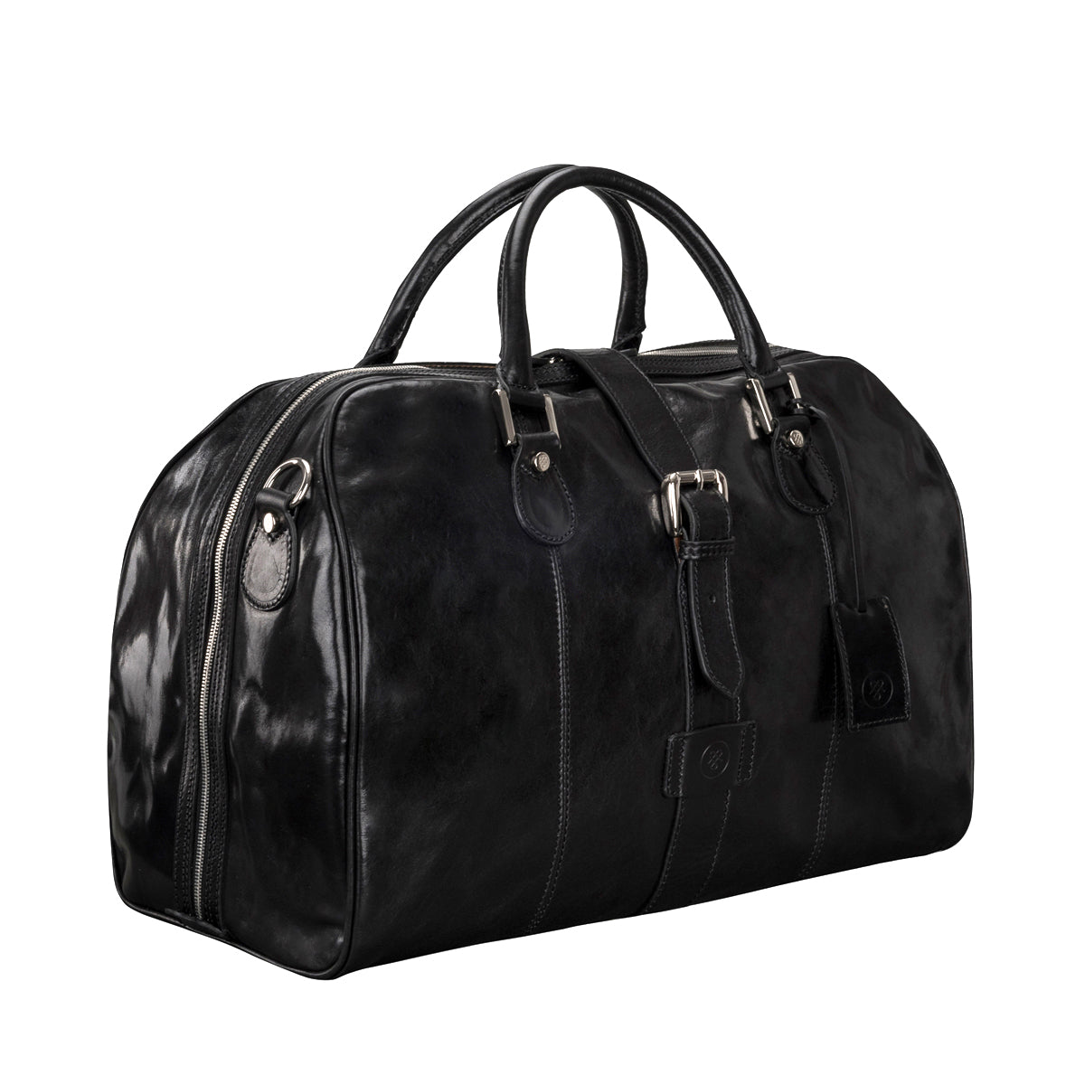Image 2 of the 'Farini' Black Veg-Tanned Leather Luxury Hand Luggage