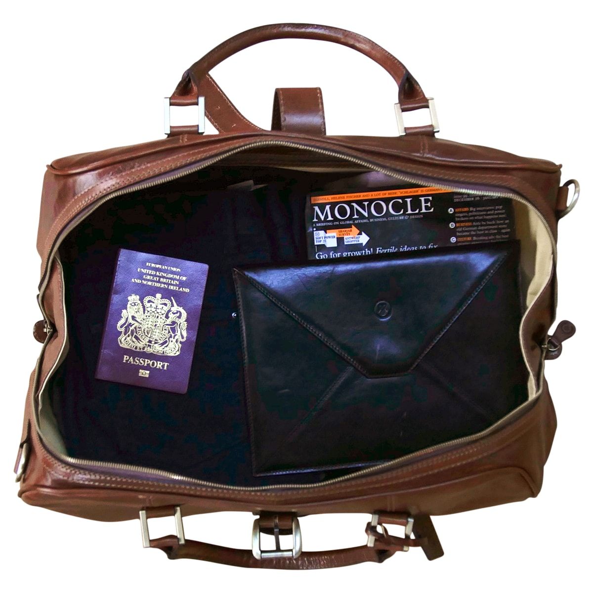 Image 7 of the 'Farini' Black Veg-Tanned Leather Luxury Hand Luggage