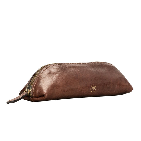 Image 2 of the 'Lorena' Leather Makeup Brush Case Tan