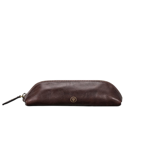 Image 1 of the 'Lorena' Leather Makeup Brush Case Choc