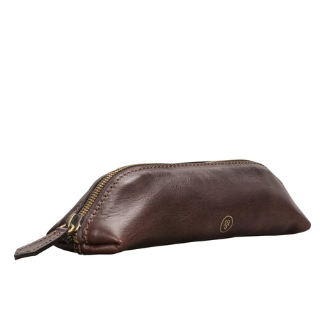 Image 2 of the 'Felice' Dark Chocolate Veg-Tanned Leather Pencil Case