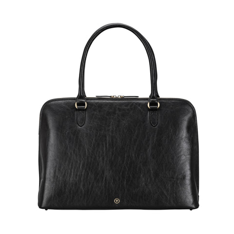 Image 1 of the 'Fiorella' Black Veg-Tanned Leather Laptop Handbag