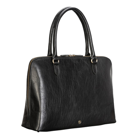 Image 2 of the 'Fiorella' Black Veg-Tanned Leather Laptop Handbag