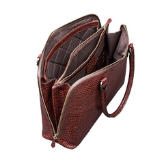 Image 5 of the 'Fiorella' Chestnut Croco Veg-Tanned Leather Laptop Handbag