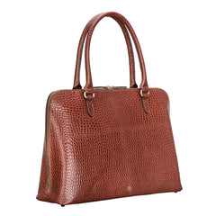 Image 2 of the 'Fiorella' Chestnut Croco Veg-Tanned Leather Laptop Handbag