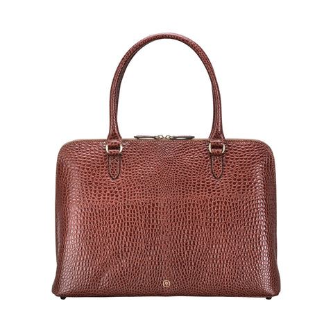 Image 1 of the 'Fiorella' Chestnut Croco Veg-Tanned Leather Laptop Handbag