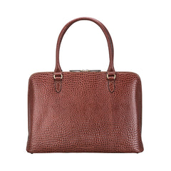 Image 4 of the 'Fiorella' Chestnut Croco Veg-Tanned Leather Laptop Handbag