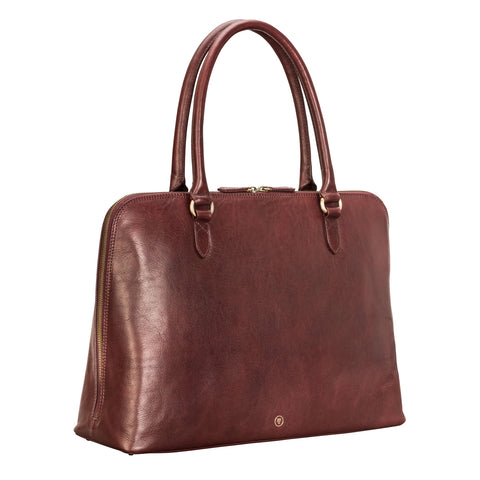Image 2 of the 'Fiorella' Wine Leather Ladies Work Bag