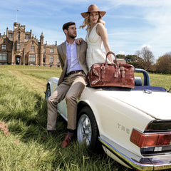Image 8 of the 'Flero' Chestnut Veg-Tanned Leather Holdall