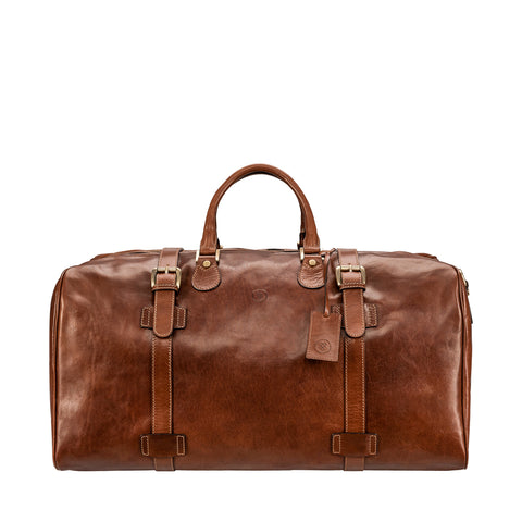 Image 1 of the Extra Large 'Flero' Chestnut Veg-Tanned Leather Holdall
