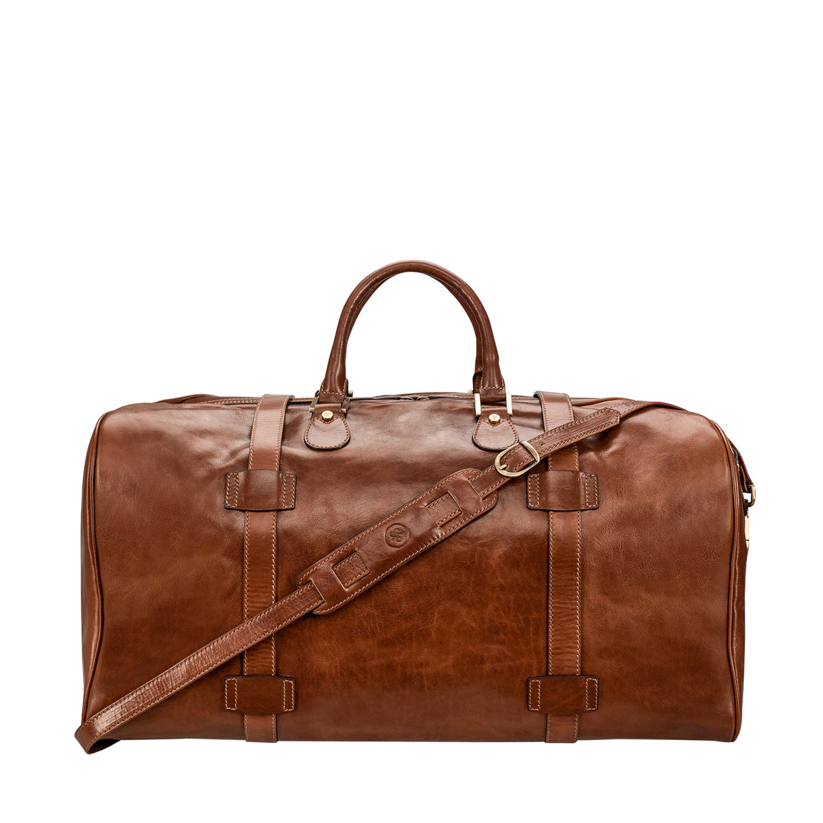 Image 4 of the Extra Large 'Flero' Chestnut Veg-Tanned Leather Holdall