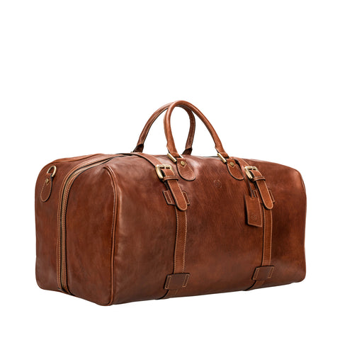 Image 2 of the Extra Large 'Flero' Chestnut Veg-Tanned Leather Holdall