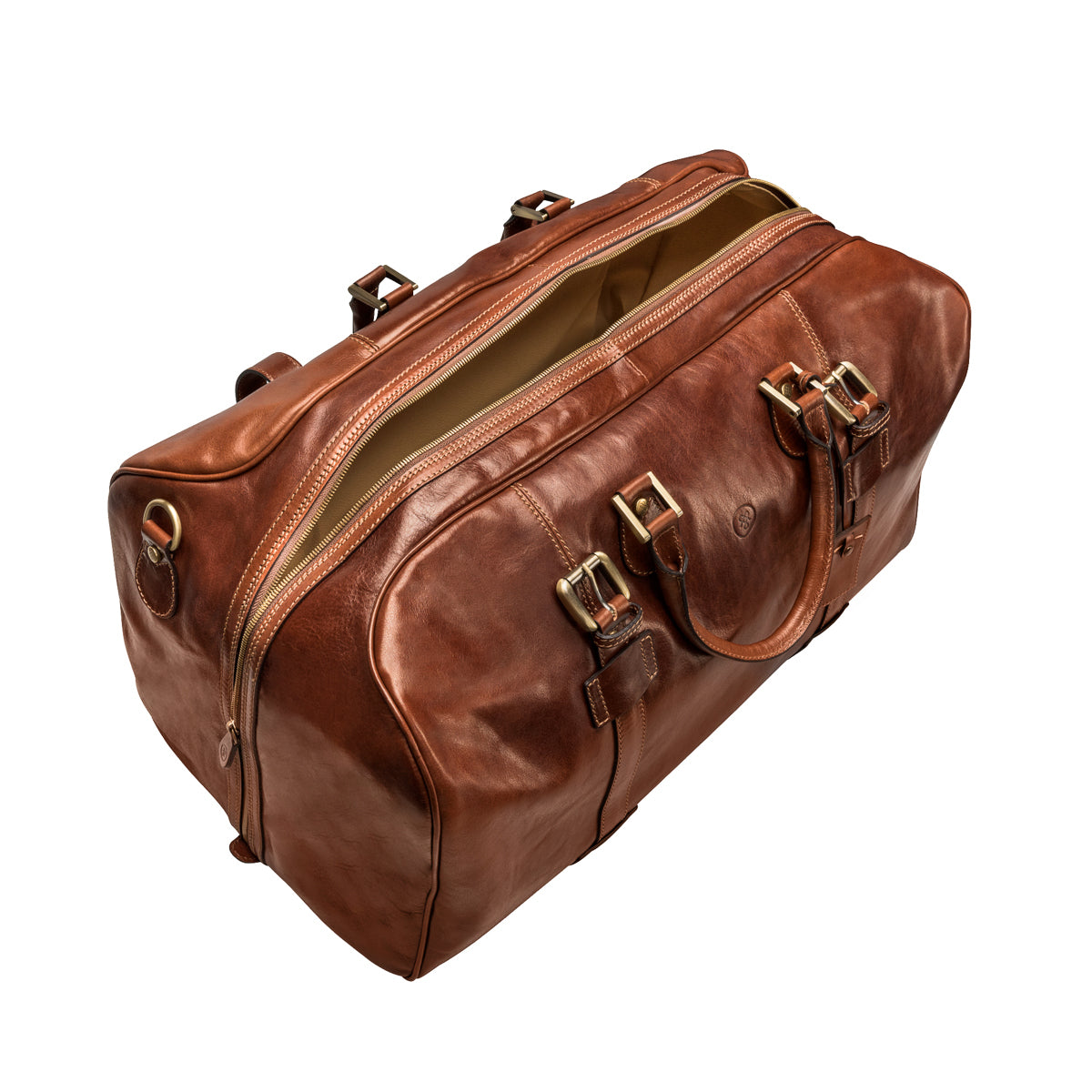 Image 5 of the Extra Large 'Flero' Chestnut Veg-Tanned Leather Holdall
