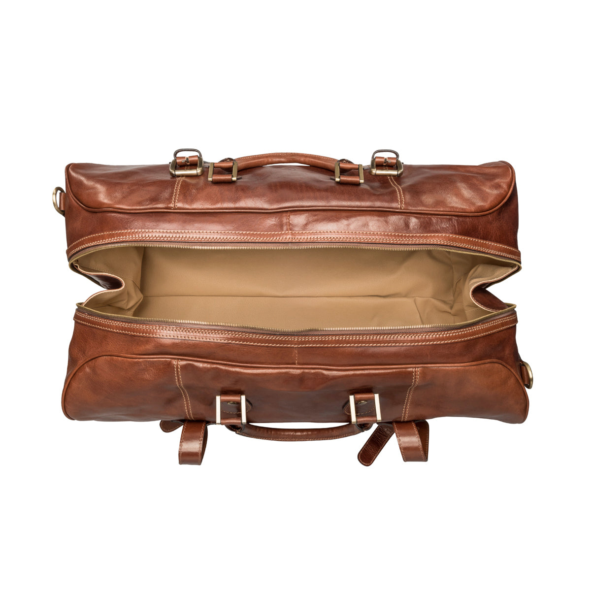Image 6 of the Extra Large 'Flero' Chestnut Veg-Tanned Leather Holdall