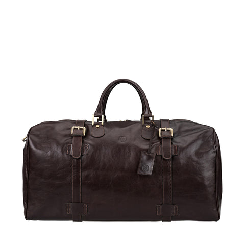 Image 1 of the Extra Large 'Flero' Dark Chocolate Veg-Tanned Leather Holdall