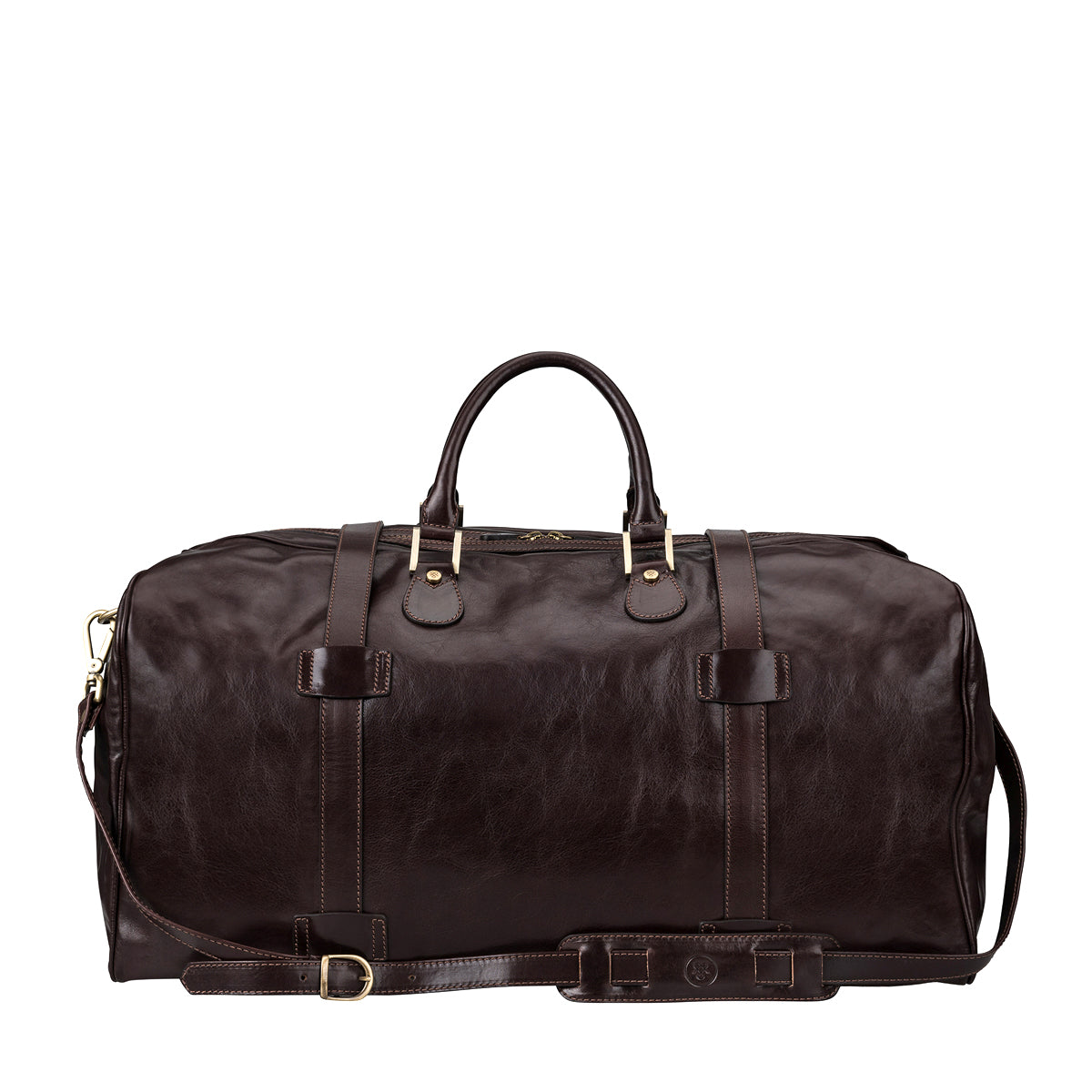 Image 4 of the Extra Large 'Flero' Dark Chocolate Veg-Tanned Leather Holdall