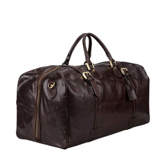 Image 2 of the Extra Large 'Flero' Dark Chocolate Veg-Tanned Leather Holdall