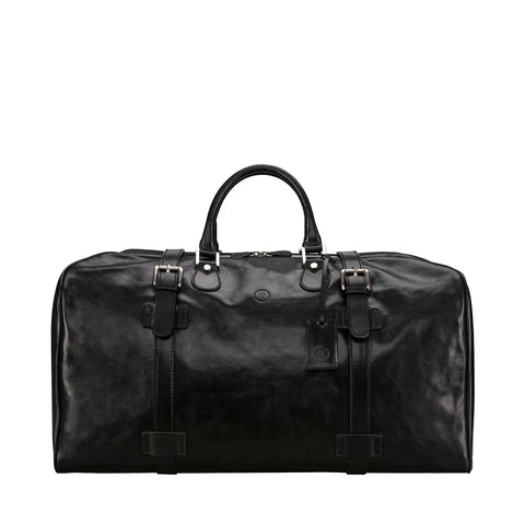 Image 1 of the Extra Large 'Flero' Black Veg-Tanned Leather Holdall