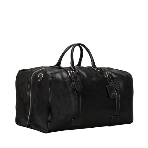 Image 2 of the Extra Large 'Flero' Black Veg-Tanned Leather Holdall