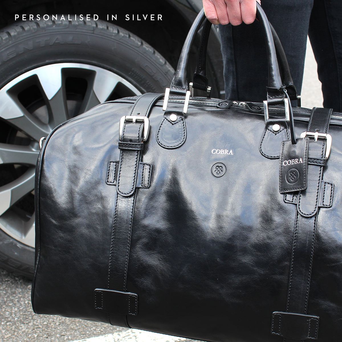 Image 8 of the Extra Large 'Flero' Dark Chocolate Veg-Tanned Leather Holdall