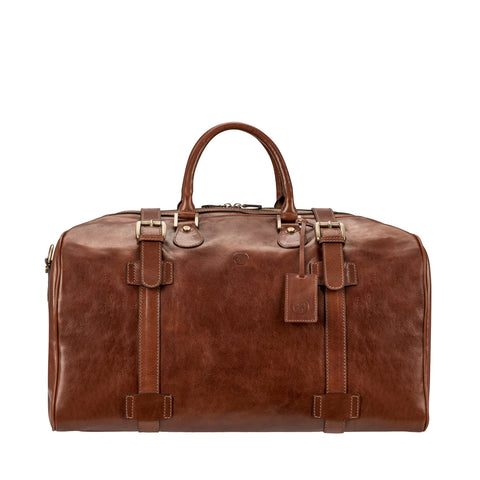 Image 1 of the Large 'Flero' Chestnut Veg-Tanned Leather Holdall