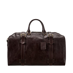 Image 1 of the Large 'Flero' Dark Chocolate Veg-Tanned Leather Holdall