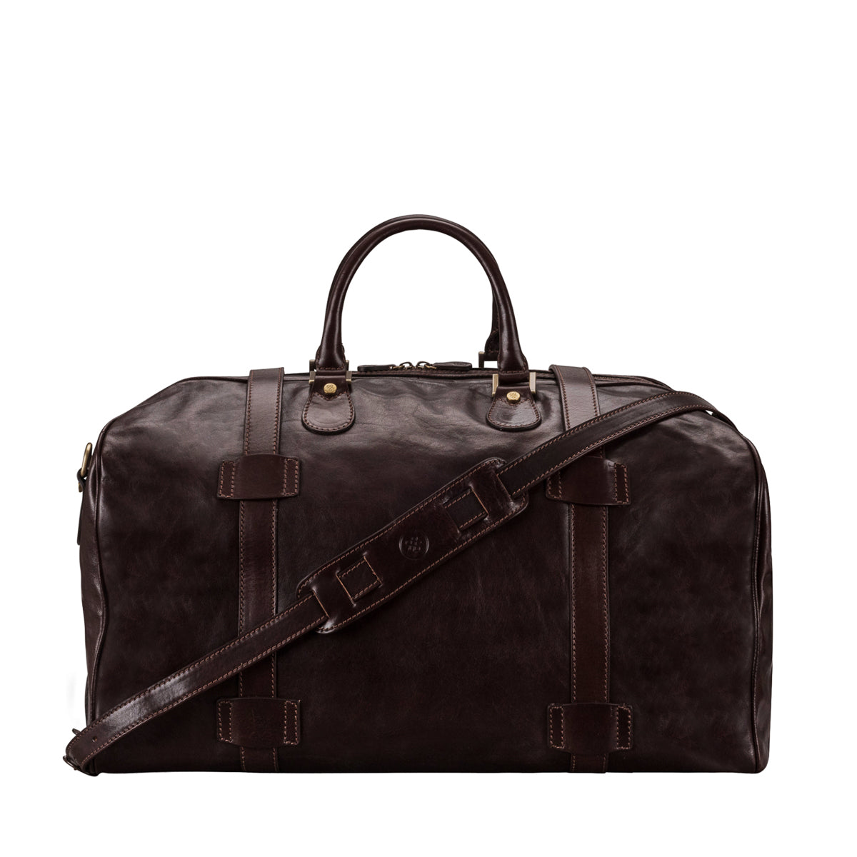 Image 4 of the Large 'Flero' Dark Chocolate Veg-Tanned Leather Holdall
