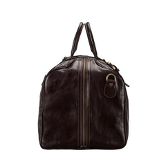 Image 2 of the Large 'Flero' Dark Chocolate Veg-Tanned Leather Holdall