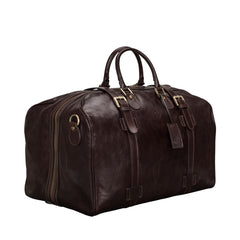 Image 3 of the Large 'Flero' Dark Chocolate Veg-Tanned Leather Holdall
