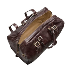 Image 5 of the Large 'Flero' Dark Chocolate Veg-Tanned Leather Holdall