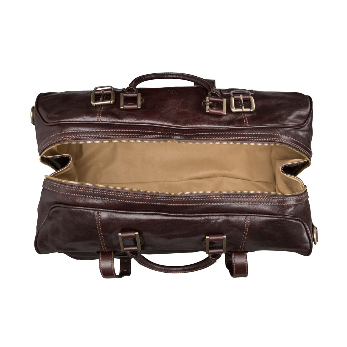 Image 6 of the Large 'Flero' Dark Chocolate Veg-Tanned Leather Holdall