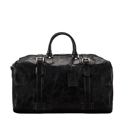 Image 1 of the Large 'Flero' Black Veg-Tanned Leather Holdall