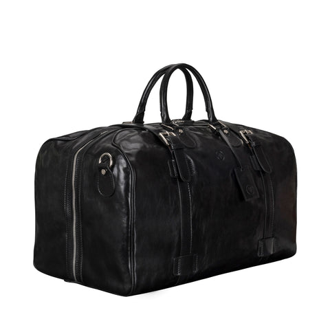 Image 2 of the Large 'Flero' Black Veg-Tanned Leather Holdall